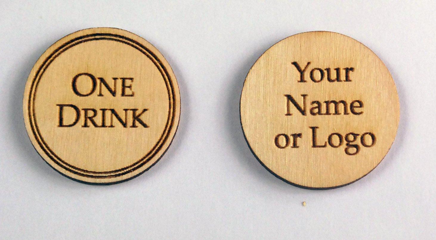 100 Wooden Custom Drink Tokens - Laser Engraved