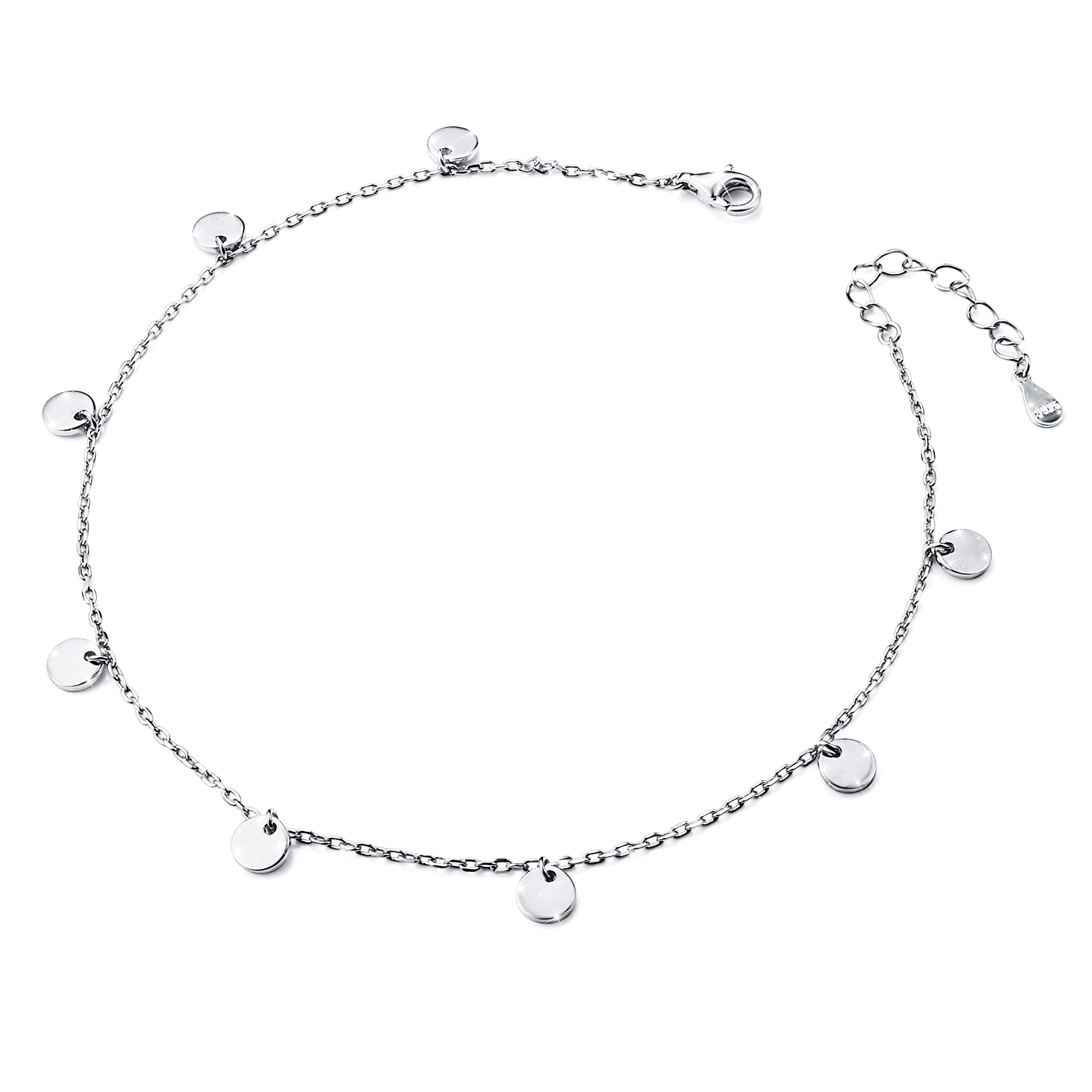 Dot Slice Anklet for Women Girl S925 Sterling Silver Adjustable Beach Style Foot Ankle Bracelet Jewelry by SILVER MOUNTAIN