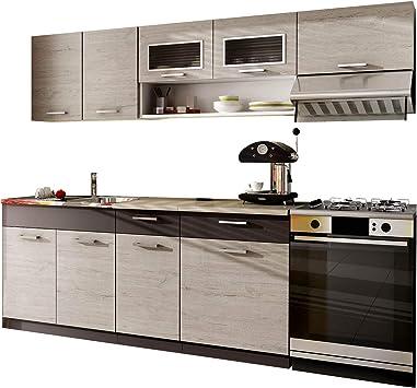 Cocina Moreno 180/240 cm con encimera, selección de colores, bloque de cocina/cocina de línea, 6 módulos de armario libremente combinables: Amazon.es: Juguetes y juegos
