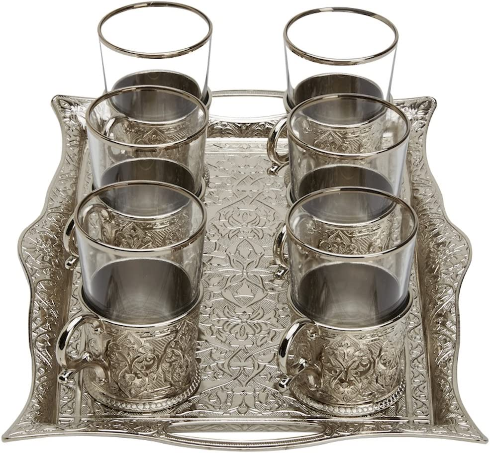 Glasses with Brass Holders /& Tray,Silver 6.6 Oz 200ml Turkish Tea Set for 6