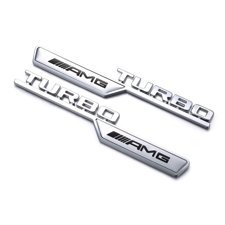 YIKAKA Y-16122722 AMG TURBO leaf plate refitting 3D Car Logo decoration for Mercedes benz 2 Pcs