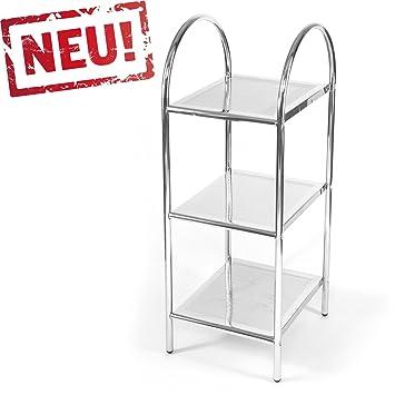 Modernes Badregal Küchenregal Badezimmer Standregal Mit 3 Ablagen   Regal  Und Fächer Aus Metall   CHROM