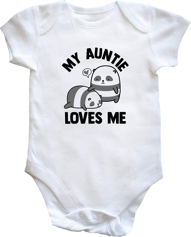 Hippowarehouse My Auntie Loves Me Panda Baby Vest Bodysuit Boys Girls Short Sleeve