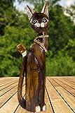 maDDma ® Katze KASIMIR Figur Albesiaholz, Handgefertigt, ca. 60cm