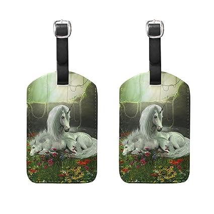 COOSUN Unicornio yegua y del Potro Etiquetas de Equipaje de Viaje Holder Etiquetas de la Etiqueta