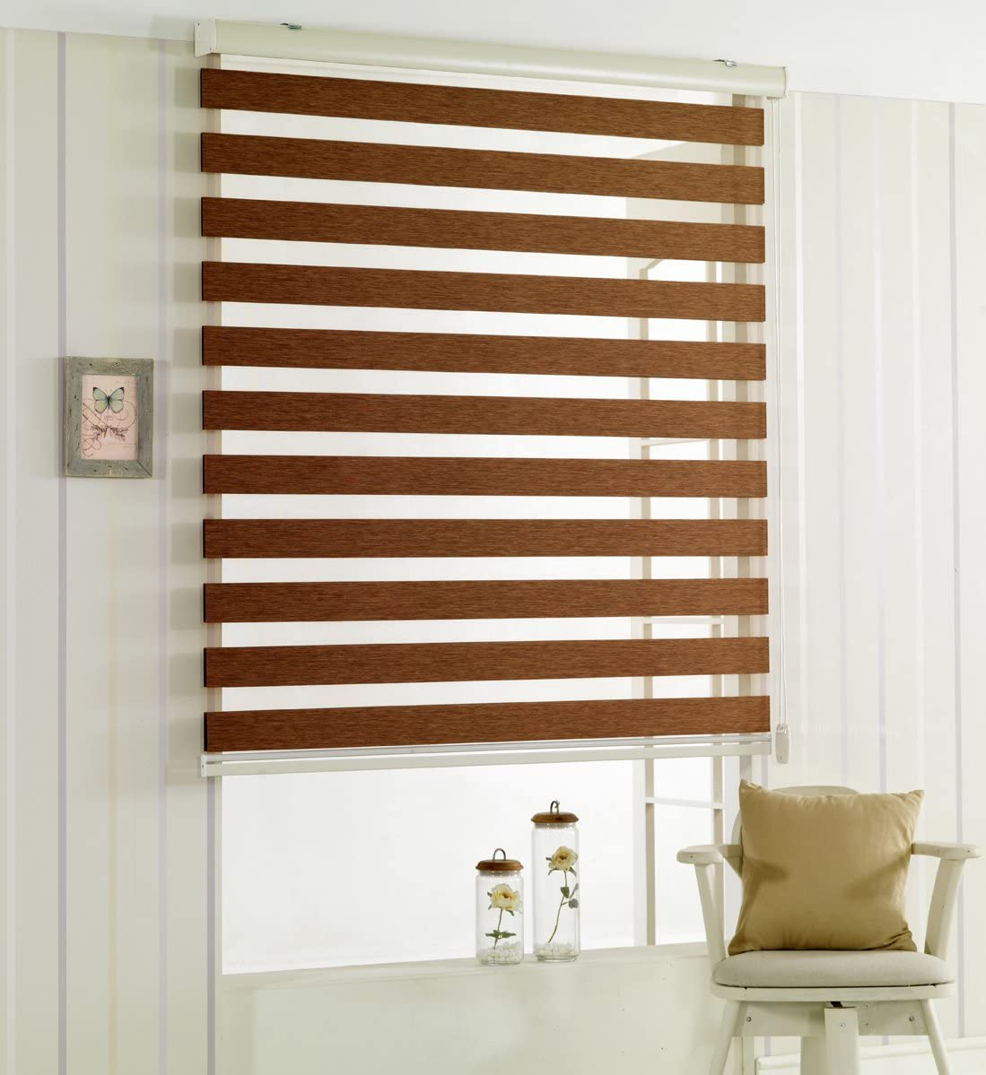 Custom Cut to Size, Winsharp Woodlook 107, Mocha_brown, W 107 x H 99 inch Zebra Roller Blinds, Dual Layer Shades, Sheer or Privacy Light Control, Day and Night Window Drapes, 20 to 110 inch wide