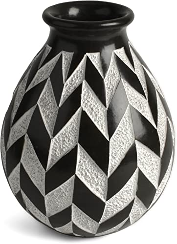 Nicaraguan Pottery Chevron 6.5 Carved Vase, Black and White