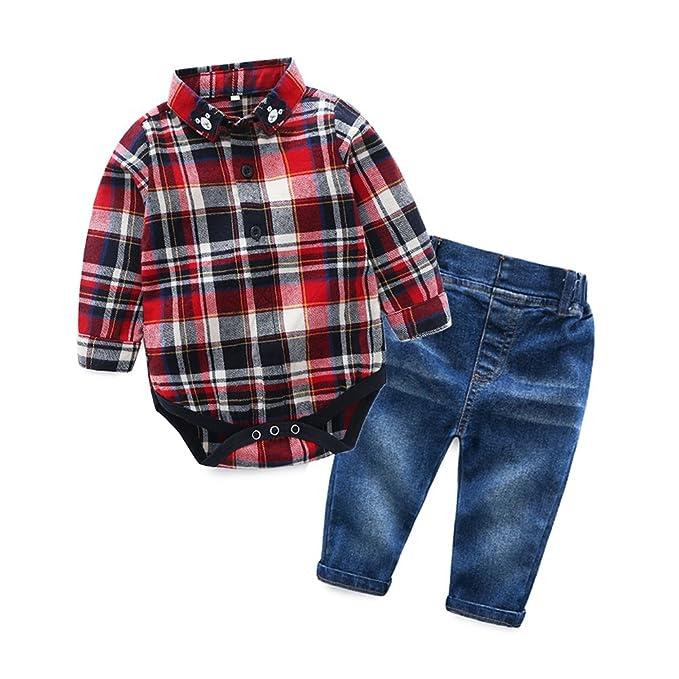 65e077de Baby Boys Casual Suit Bear Long Sleeve Plaid Button-Down Shirt Jeans Pant  Outfits Set