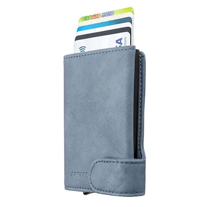 LUNGEAR Credit Card Holder RFID Blocking Security Leather Pop Up Bank Card  Holder Slim Bifold Wallet for Men and Women