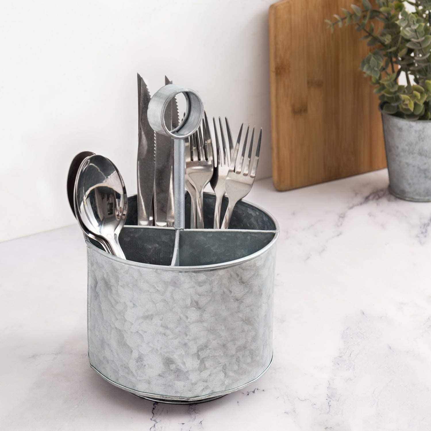 MyGift 4-Compartment Galvanized Silver Metal Flatware Server Caddy for Forks, Knives & Spoons with Handle