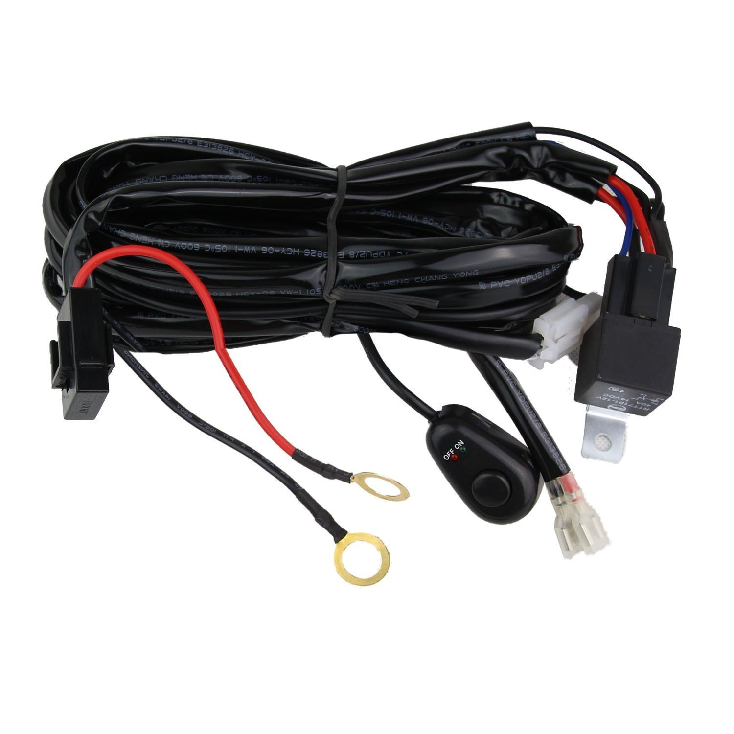 71xZ3MgxymL._SL1500_ amazon com northpole light led light bar wiring harness, 12v 40a Universal Wiring Harness Diagram at gsmx.co