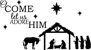 Empresal Wall Decal Quote O Come Let Us Adore Him Nativity Christmas Vinyl Sticker Saying Art