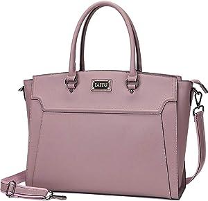 IAITU Laptop Tote Bag,15.6 Inch Women Elegant Laptop Bag Tablet Case Handbag for Office Travel School (Purple)
