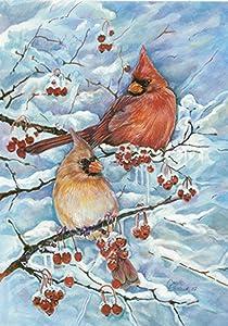 Toland Home Garden Cardinals & Berries 12.5 x 18 Inch Decorative Winter Snow Red Bird Perch Garden Flag - 118287