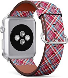 Compatible with Small Apple Watch 38mm & 40mm (All Series) Leather Watch Wrist Band Strap Bracelet with Stainless Steel Clasp and Adapters (Tartan Plaid Checkered)