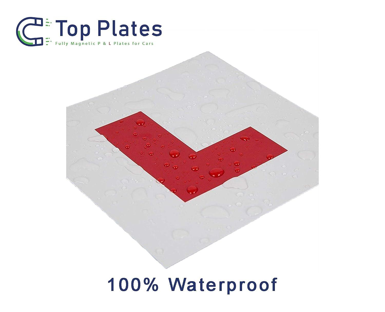 Top Plates Premium 2 Pack Totalmente magn/ético L Platos para nuevos Estudiantes Conductores No Deja da/ños en la Pintura garantizado para no Volar a Alta Velocidad
