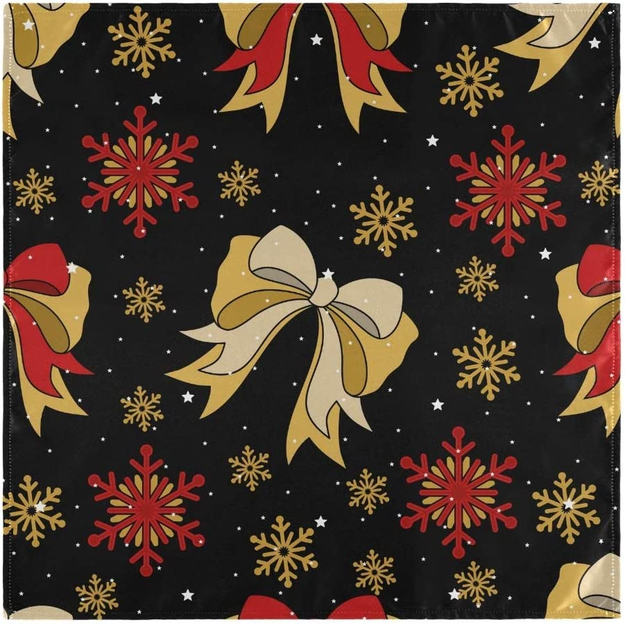 """N\ A Christmas Wrapping Paper Cloth Napkins Set of 4 Cocktail Dinner Party Napkins, Dining Table Polyester Fabric Lunch Reusable Napkins Washable for Wedding Christmas 20""""X 20"""""""