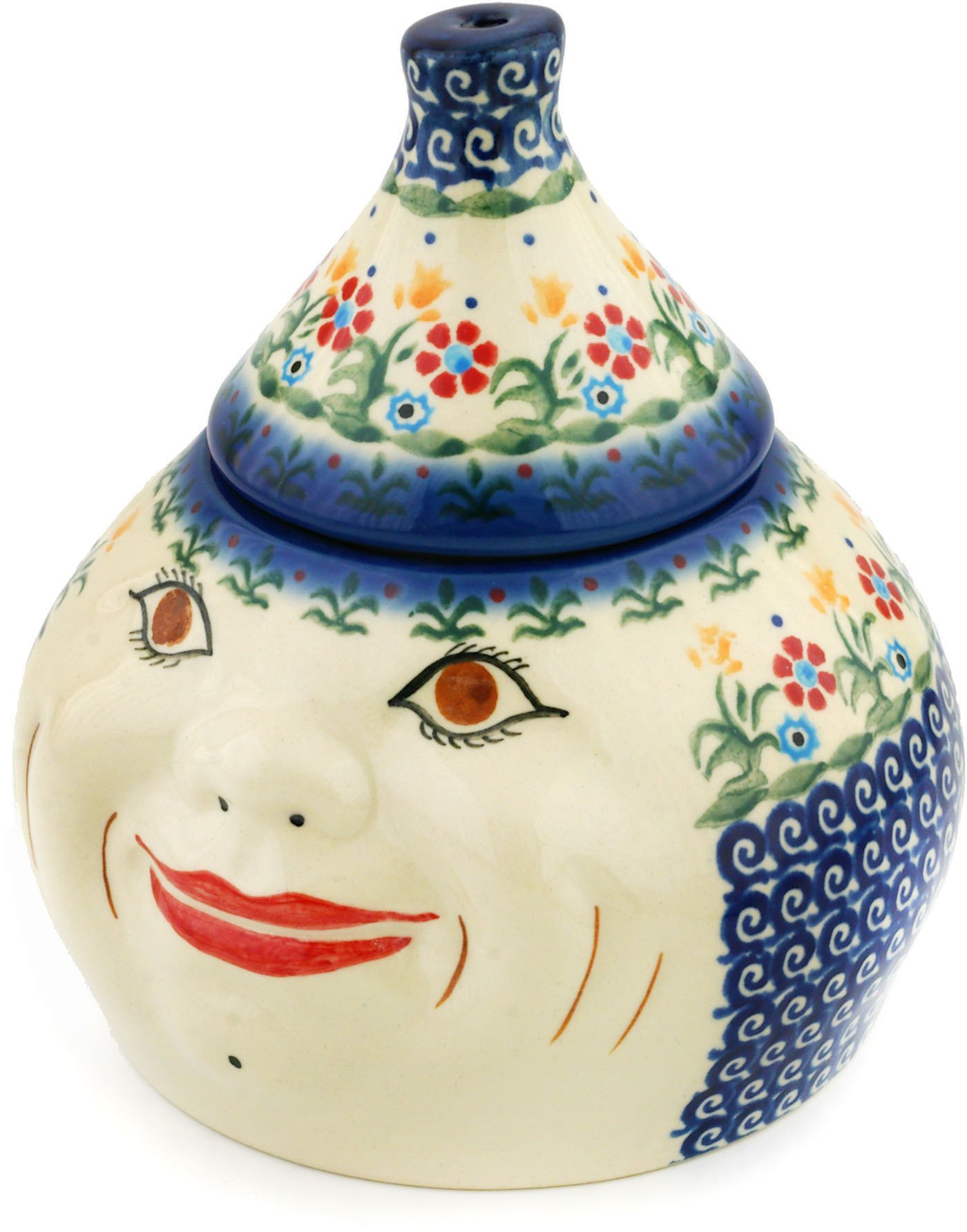 Polish Pottery Garlic and Onion Jar 7-inch Spring Flowers by Polmedia Polish Pottery