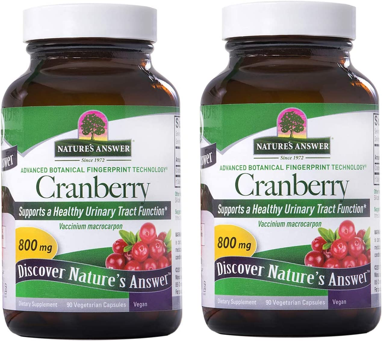 Nature's Answer Cranberry Fruit | Dietary Supplement | Supports a Healthy Urinary Tract Function & Healthy Immune System | Vegetarian, Kosher Certified & Vegan 90 Capsules (2 pack)