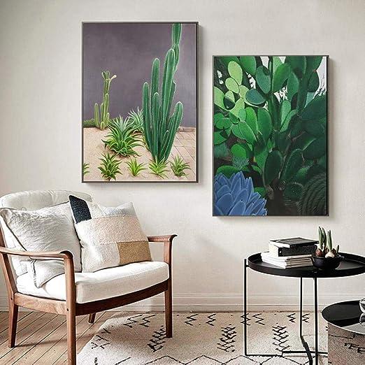 HXQQ Cactus nórdico Carteles Plantas Verdes Paisaje ...