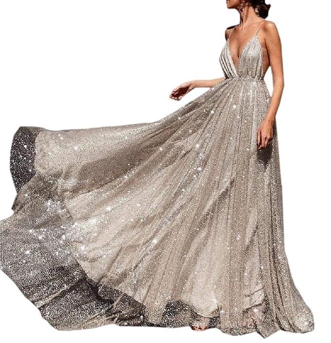 dahuo Vestido Largo sin Espalda para Mujer, Vestido Largo de ...