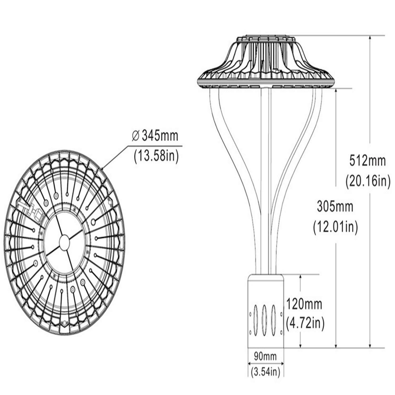 75W LED Garden Street Post Top Light Lamps Fixture 5000K 9000 Lumen 100-277 V Daylight Pathway Pole Lighting in Garden,Yard and More okaybulb