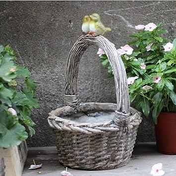 Figura Decorativa para jardín Bird Basket Flower Pot Figurine Resina A Prueba De Agua Garden Statue Para Yard Lawn Decoration Gift - 25 * 25 * 44cm A: Amazon.es: Bricolaje y herramientas