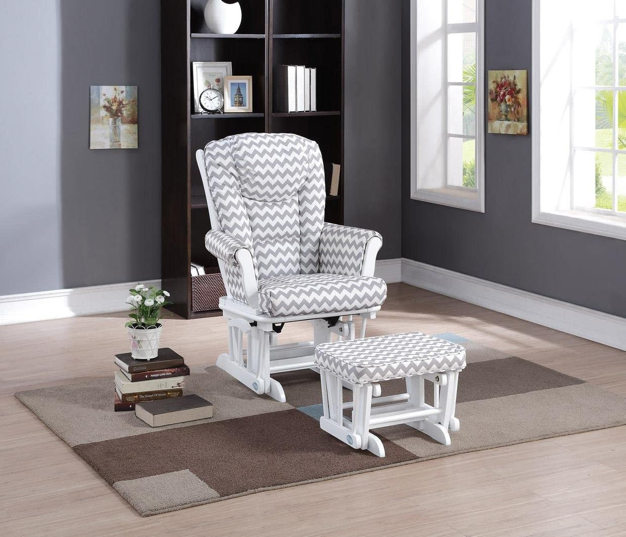 Naomi Home Deluxe Multiposition Sleigh Glider and Ottoman Set White Gray Chevron