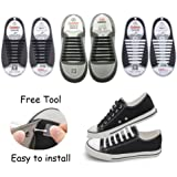 No Tie Shoelaces for Kids and Adults with Free Tool, KeyWants Elastic Silicone Shoes Laces Fit for Sneaker, Casual Shoes (3 Pairs)