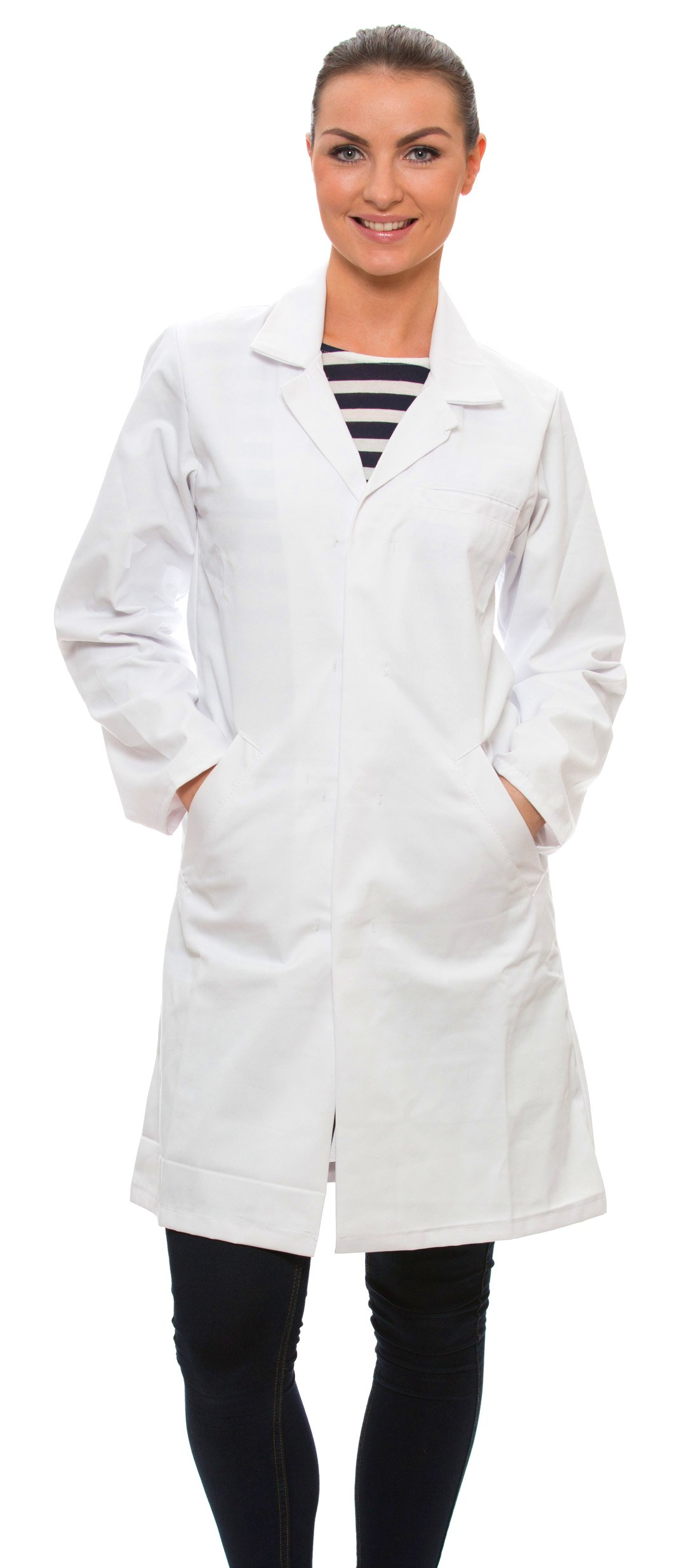 Dr. James Women's 100% Cotton White Lab Coat 39 Inch Length Size 6 US-04-C