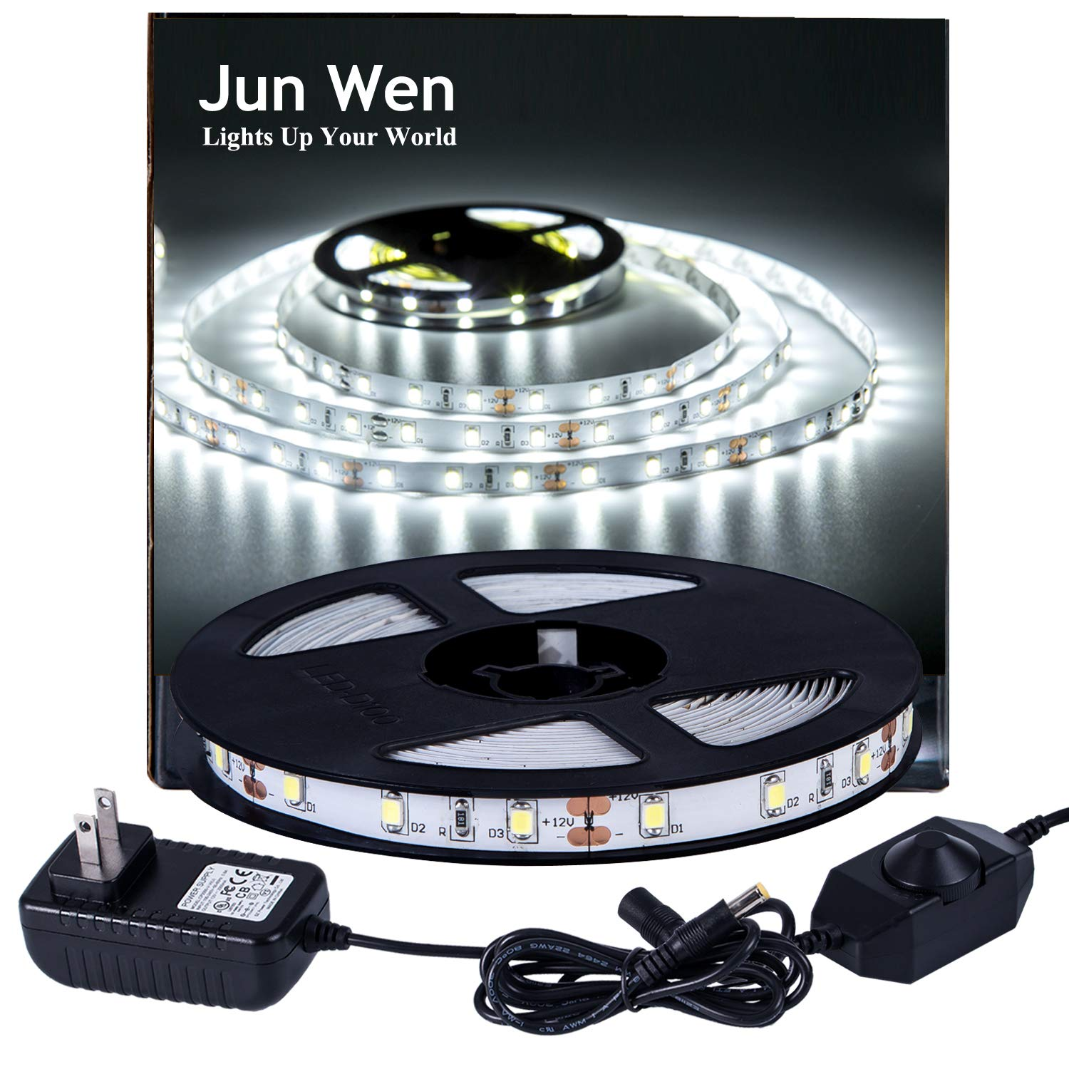 LED Strip Lights 300 Units SMD 2835 Rope Lights 5M/16.4 Ft 6000k Non-waterproof LED Tape Ribbon Light with Dimmer and Power Supply Kitchen Under Cabinet Dining Room Bedroom Wedding by JUNWEN