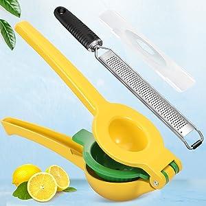 Lemon Squeezer & Citrus Zester Grater Set - Premium Quality Metal Lemon Lime Squeezer, Manual Citrus Press Juicer - Razor-Sharp 304 Stainless Steel Blade Zester, Dishwasher Safe