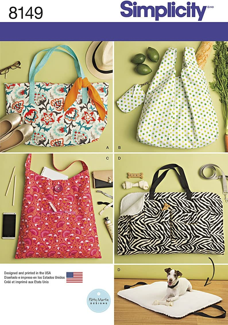 One Size Simplicity Creative Patterns Simplicity Pattern 8149 Totes and Dog Travel Bed Size One Size