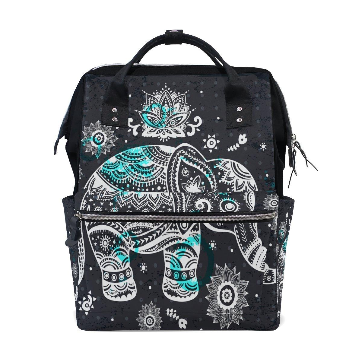 FENNEN Travel Backpack School Laptop Backpack Polka Dot Animal Elephant Large Capacity Shoulder Diaper Bag for Womens Mens