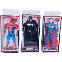 Aone Spiderman,Superman,Batman Super Hero Figure Set of - 3 (16X7X3 cm.)(Multicolour) Toys for Kids
