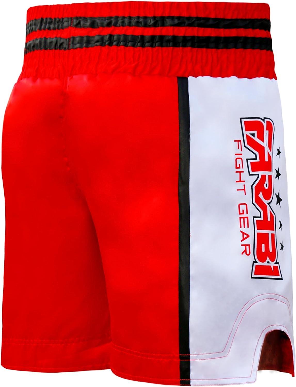 Color Rojo//Blanco Muay Thai tama/ño Extra-Large Pantalones Cortos de Combate para Boxeo FARABI MMA