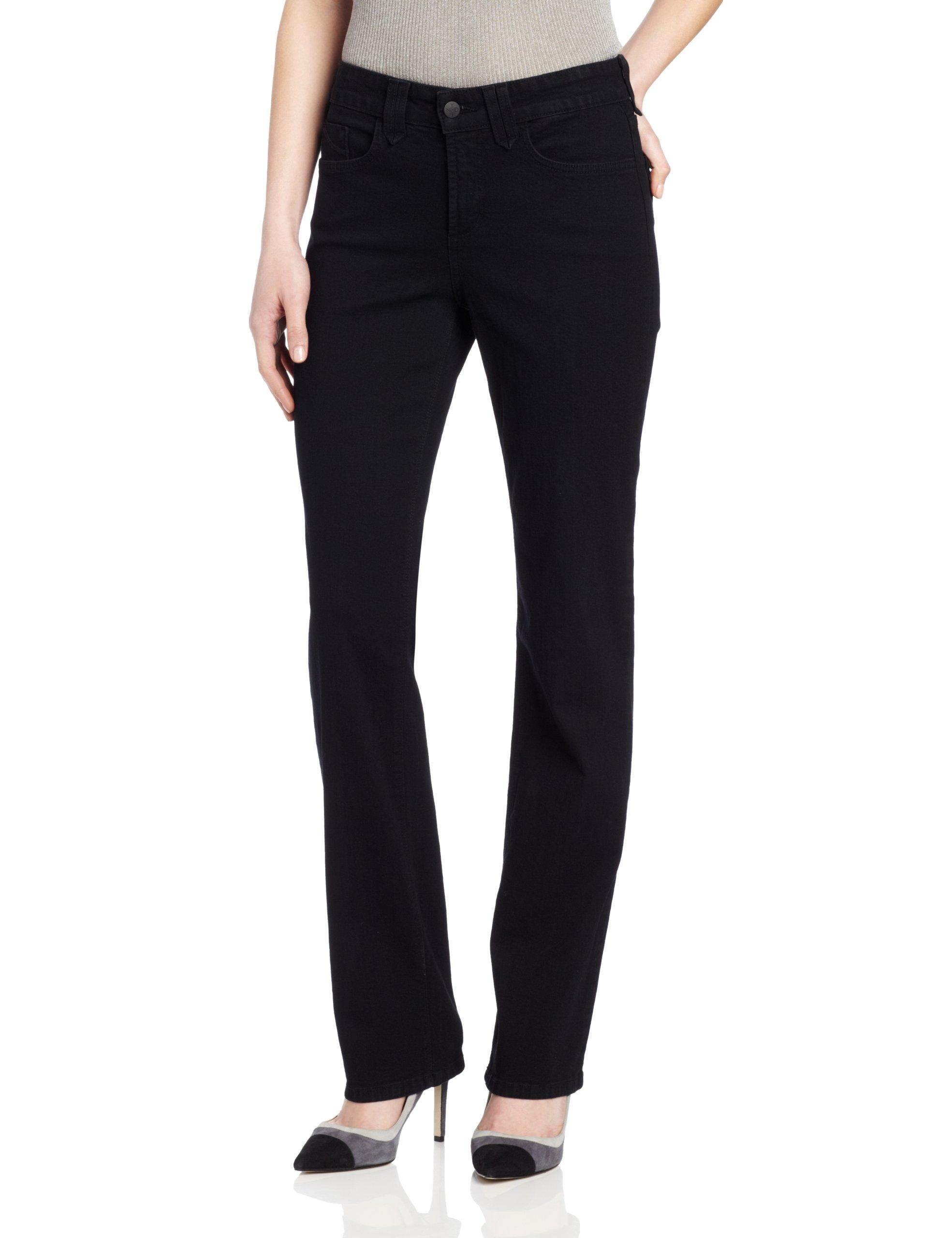 NYDJ Women's Petite Hayden Straight Leg Jeans, Black, 0P