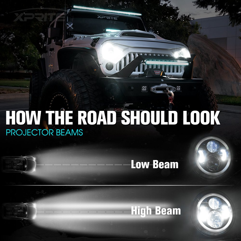 Xprite 7 Inch Bluetooth Rgb Led Headlights For Jeep Wrangler Jk Tj Halo Headlight Wiring Diagram Lj 1997 2018 W Ring Drl And Turn Signal Function Cree Chip 90w 5400 Lumens