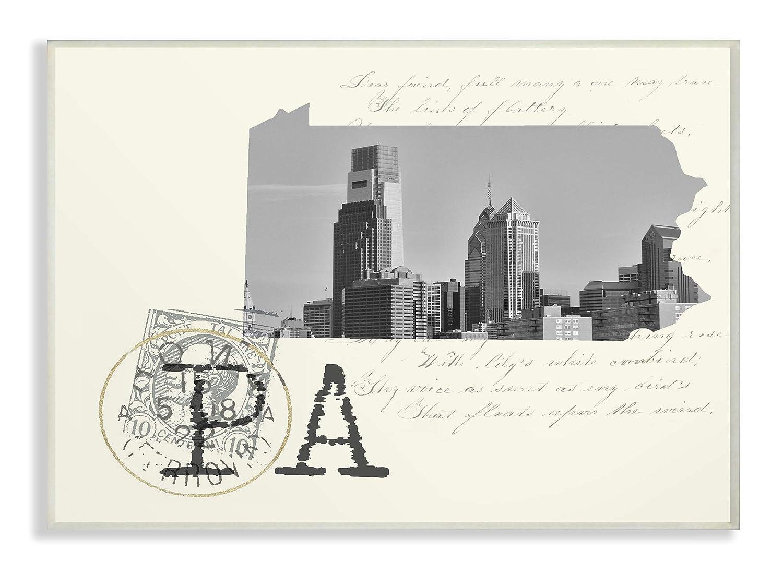 The Stupell Home Decor Pennsylvania Black and White Photograph on Cream Paper Postcard Wall Plaque Art, 13 X 19 Multi-Color