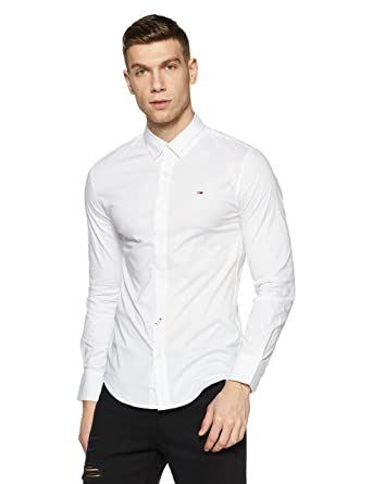 c3fd548aa Tommy Hilfiger Men's Casual Shirt (8903876729285_A5ATW180_Large_Classic  White)