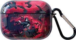 Naruto Airpods pro case, Uchiha Itachi, Uchiha Sasuke, Uzumaki Naruto Personalise Custom Skin, Suitable for Apple airpods pro case Cover, with Keychain (red)