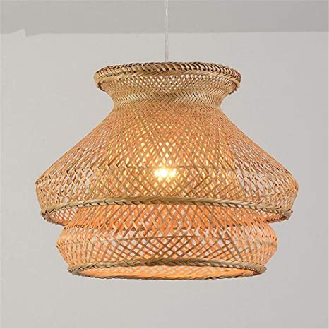 Iluminación Luz De Techo Lámpara Colgante Bambú Mimbre ...