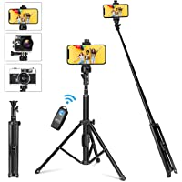 YOHOOLYO Selfie Stick Tripod 137cm 2 in 1 Portable Extendable Mini Camera Tripod with Wireless Remote Shutter Compatible…