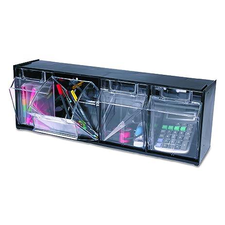Deflecto 20404OP Four Bin Horizontal Tilt Bin Storage System, 23 5/8w