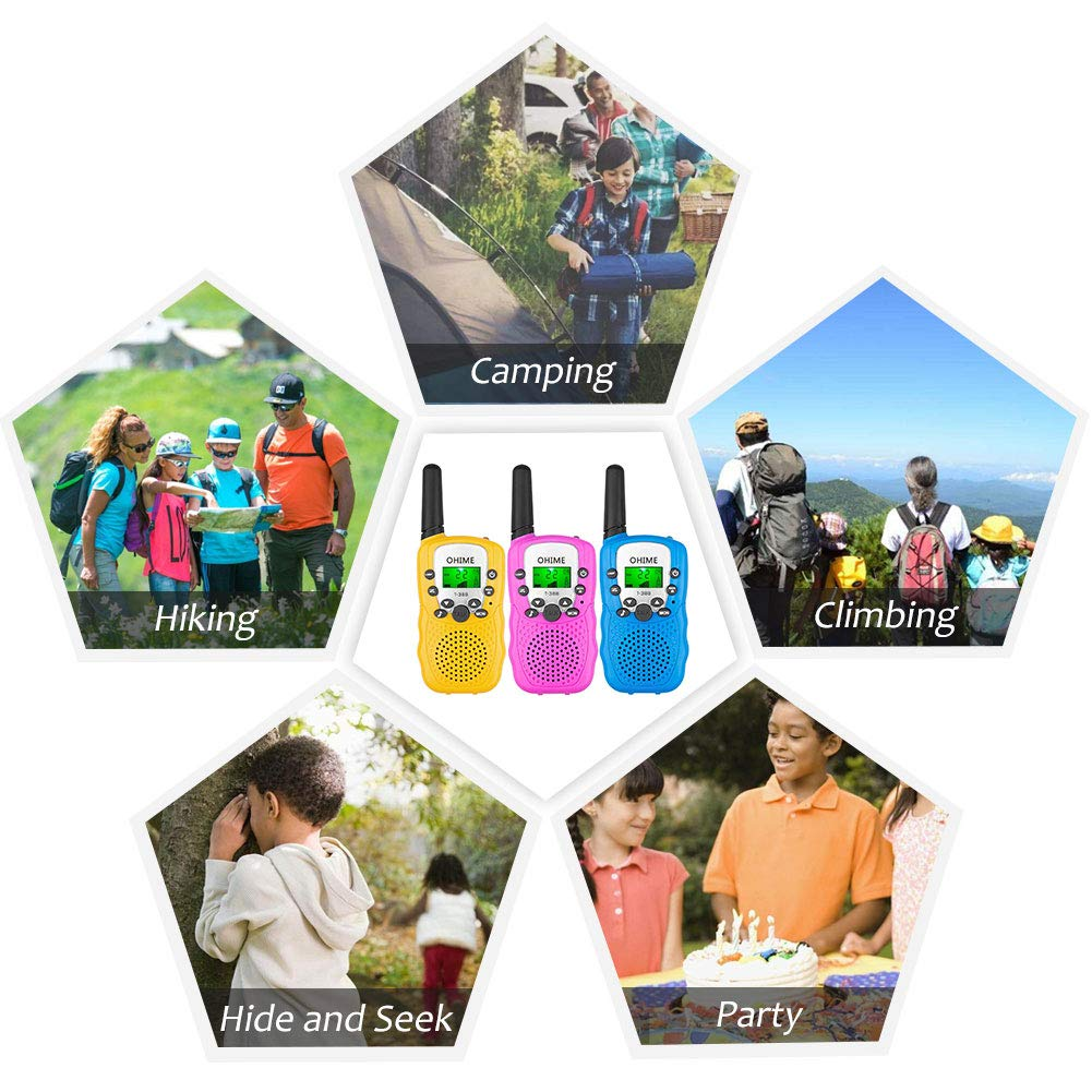 Ohime Kids Walkie Talkies,Cover 3 Miles Range with Backlit LCD Flashlight 22 Channels 2 Way Radio Toy Outdoor Adventures, Camping, Hiking,Party (YellowΠnk&Blue) by Ohime (Image #5)