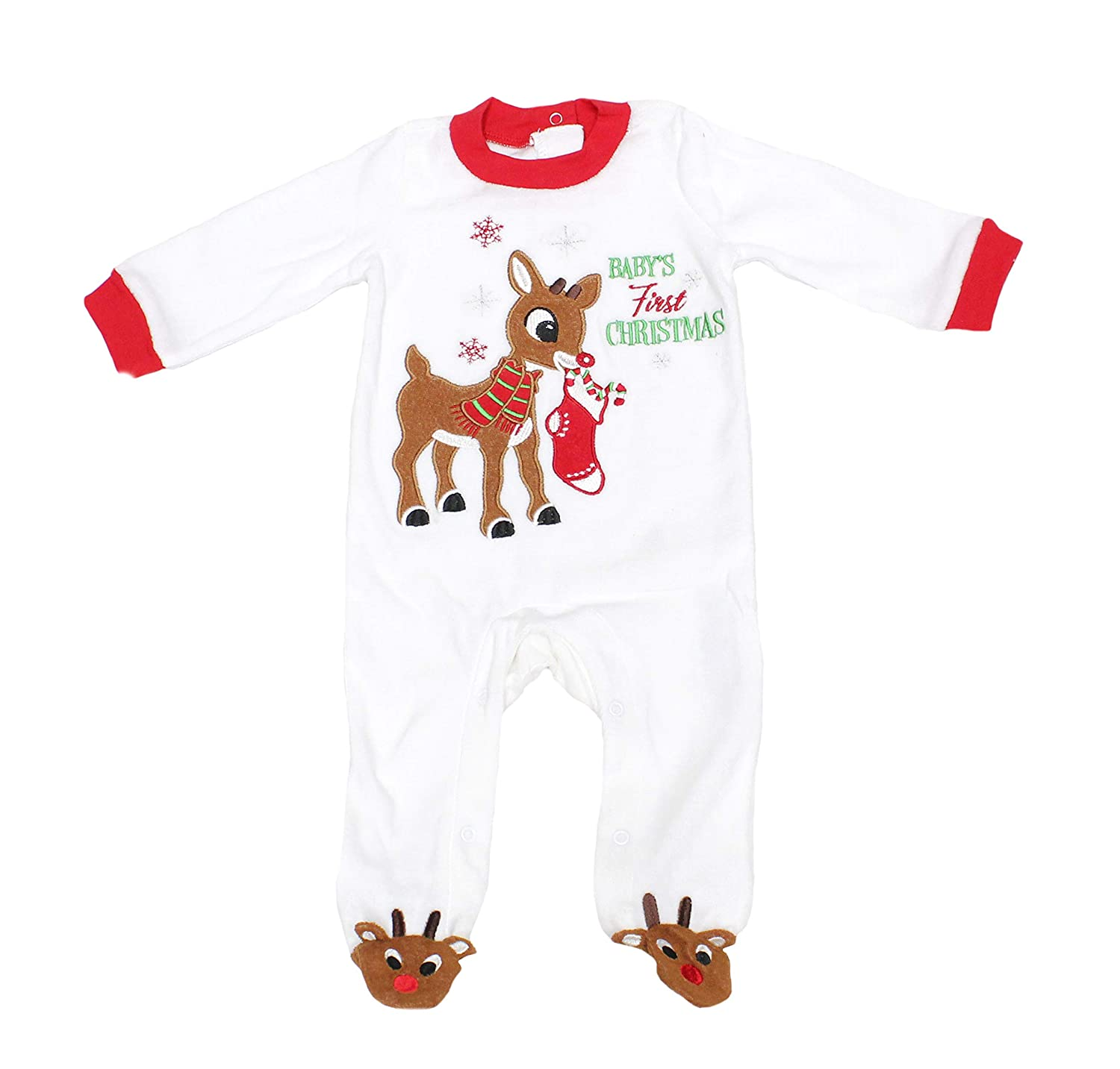 Rudolph's 3 Months Baby's 1st Christmas Velour Footed Romper Sleep 'N Play