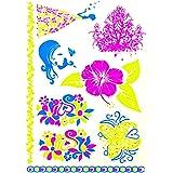 Bijoux de Peau - Carte de Stickers Tattoo Tatoo Autocollant Temporaire - Fleurs Phosphorescent Effet Metal - Fantaisie Femme Tatouage Ephémère