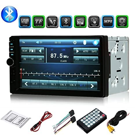 Aigoss Car Stereo Bluetooth MP5 Video Digital Player 7 Touch Screen 2 Din Car Radio Wireless Remote Control Hands Free Multimedia with Rear-View Camera Support Backup//TF//FM//AUX//USB