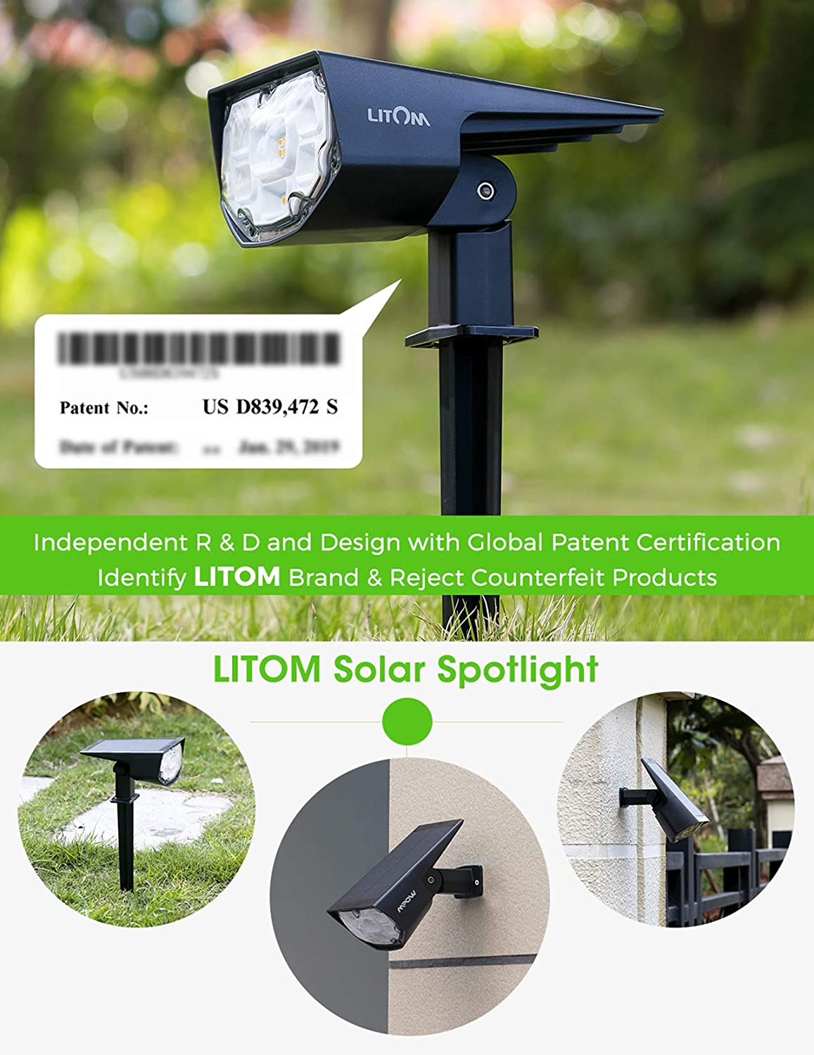LITOM 12 LEDs Solar Landscape Spotlights, IP67 Waterproof Solar Powered Wall Lights 2-in-1 Wireless Outdoor Solar Landscaping Light for Yard Garden Driveway Porch Walkway Pool Patio 6 Pack Warm White: Home Improvement