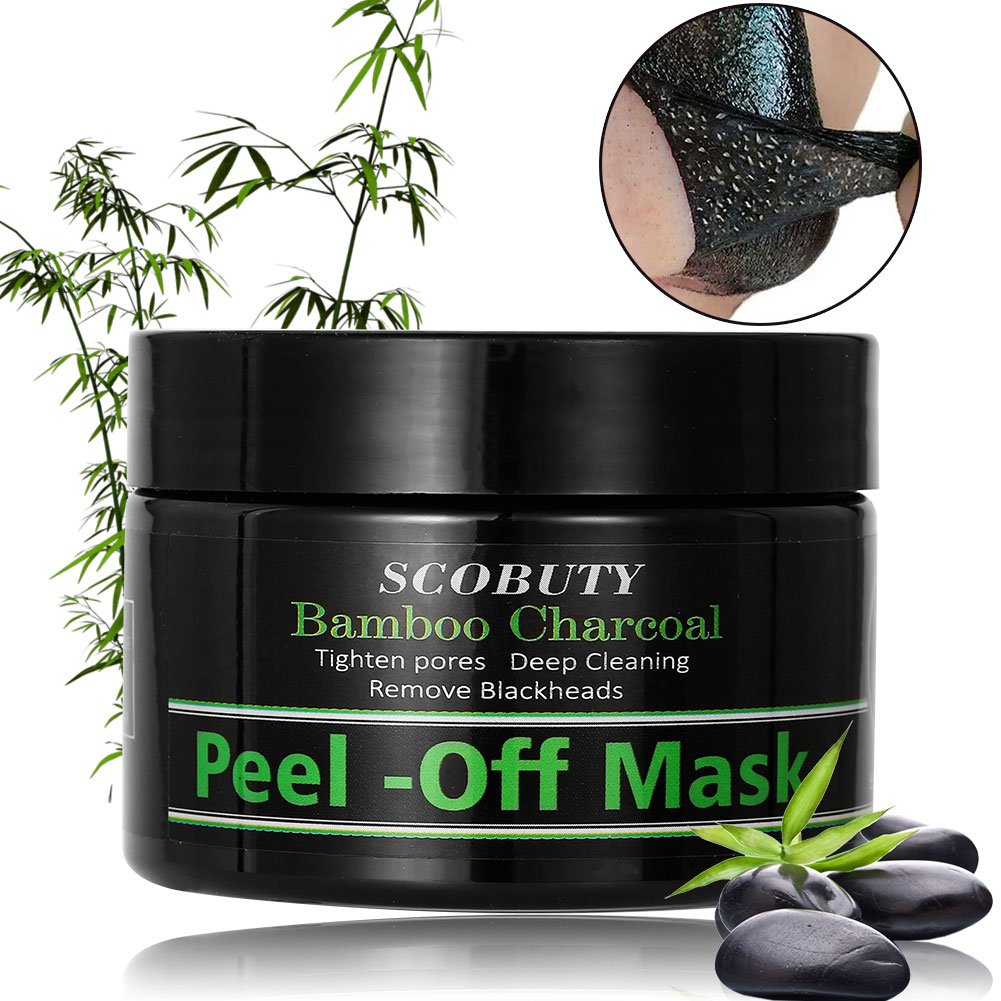 Charcoal Face Mask, Peel Off Mask, Blackhead Mask, 120ml charcoal black head remover peel off black face mask, Black Mask Anti-Aging Peel Off Face Mud Deep Clean Activated Exfoliator (120ml) SCOBUTY
